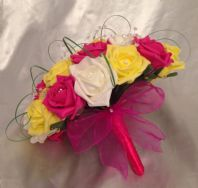 WEDDING FLOWERS ARTIFICIAL YELLOW IVORY HOT PINK FOAM ROSE BRIDE WEDDING BOUQUET